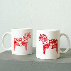Dala horse mugs