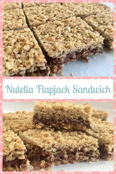 Gooey Nutella chocolate spread sandwiched between layers of chewy flapjack. A delicious, easy to make treat ideal for Nutella fans. Nutella Snacks, Nutella Recipes, Nutella Cake, Nutella Sandwich, Hot Chocolate Gifts, Chocolate Spread, Tray Bake Recipes, Baking Recipes, 13 Desserts