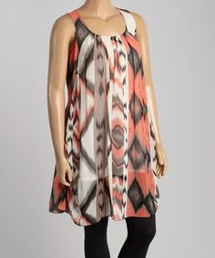 Peach Ikat Sleeveless Tunic - Plus #zulily #zulilyfinds