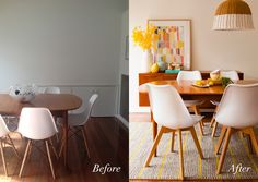 Before and after: Wee Birdy's dining room makeover, via WeeBirdy.com. #beforeafter #makeover #diningroom #Freedom #interiors #reveal #treehouse