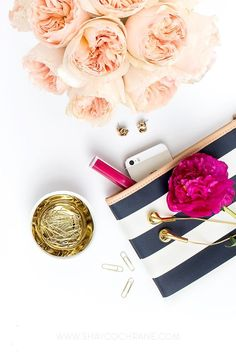 Product styling, prop styling, and photography by Shay Cochrane | desktop, navy, peach, gold, fuchsia