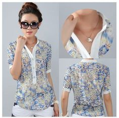 Senhoras blusas femininas moda chiffon corpo camisa encabeça print floral grande tamanho 3XL 4XL manga curta gola CS9085