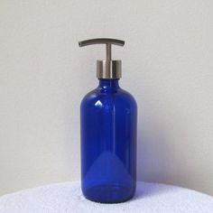 Cobalt Blue Glass Soap Dispenser with Modern Curve Stainless