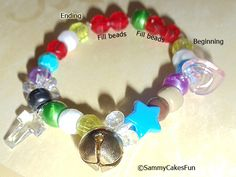 """Our kid version of the """"Nativity Story"""" bracelets. Each bead represents the story of Christmas!"""