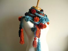 crochet scarf pompoms