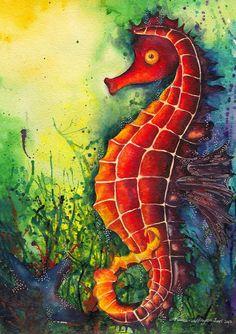 Underwater Seahorse painting