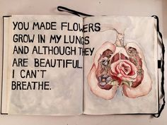 flowers, quote, and lungs image