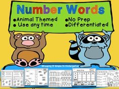 This set provides worksheets to help your little ones with reading number words. The pages are differentiated. They begin by simply having students count and match number words and progress to reading simple sentences.The pages are decorated with animals and insects so they are perfect to use any time of the year.Check out the preview for details and a few freebies!This set is bundled with my Number Word Games Set.