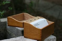 Vintage Oak Recipe Box With Dovetailed Edges, Dividers, And Cards / Vintage…