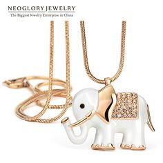 Neoglory Auden Rhinestone Animal Design Long Pendant Chain Necklacesfor Women Enamel Rose Gold Plated Jewelry Accessories 2014