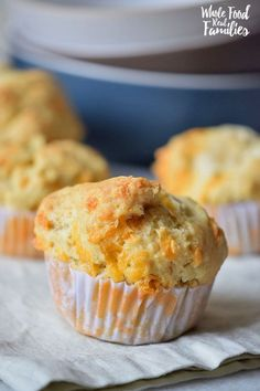 These Cheddar Garlic Muffins are so delicious. And completely gluten free – not that my kids care! They are just happy to snag them every time the bread basket comes their way.  @wholefoodrealfa