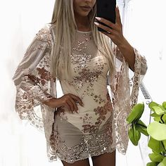 f21ec20882015 Splicing Mesh Sequins Embellished Batwing Cover Ups New Chic