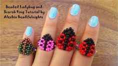 Beaded Ladybug and Scarab Ring Tutorial