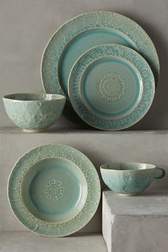 Color Inspiration for Kitchen Cabinets Old Havana Dinnerware #anthropologie