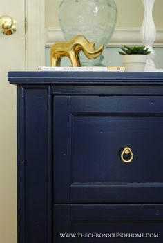 Dresser painted in Symphony Blue from Benjamin Moore. The Chronicles of Home