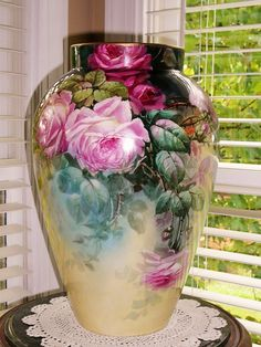 "Wonderful Huge 16"" D&C Limoges vase with Roses from rememberedtreasures on Ruby Lane"