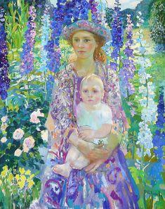 Painting by Olga Suvorova - Klimt, Fields In Arts, Art Moderne, Russian Art, William Morris, Mother And Child, Art Plastique, Beautiful Paintings, Art World