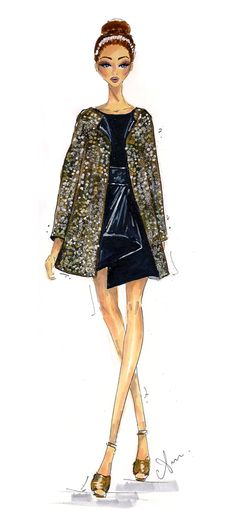 Fendi Spring 2013 ~ Illustrations by Anum I'm not so secretly obsessed with all things sparkly, so it's no surprise that I instantly fell in love with the sequined pieces in Fendi's spring collection. Loved the silhouette of this look especially.