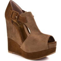 Luichiny Buckle Up Wedge - Camel Cognac ($90) ❤ liked on Polyvore