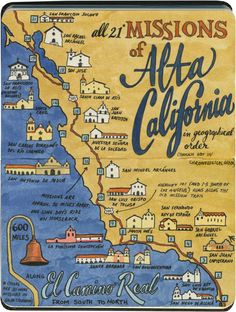 Beautiful sketches of the historic California Missions by artist Chandler O'Leary