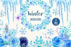 Watercolor Clipart Winter by Corner Croft on @creativemarket