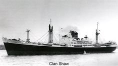 SS Clan Shaw of Clan Line. Launced on 23rd August 1949 and completed in January 1950. She had accommodation for 12 passengers and for their convenience her funnel was fitted with a device to clear the smoke of her oil fired boilers clear of the vessel. Sold to SAF Marine in 1960 where she was renamed South African Seafarer.