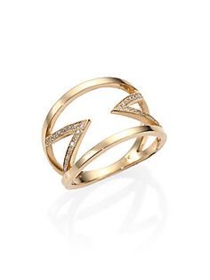Zoe+Chicco Diamond+&+14K+Yellow+Gold+Double+Open+Chevron+Ring