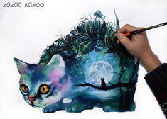 "1,257 Likes, 121 Comments - Sung Ho Lee (@zazac_namoo) on Instagram: ""달을 품은 고양이  #고양이 #달 #품다 #냥스타그램 #animal #artwork #illustration #illustrator #드로잉 #그림 #수채화 #drawing…"""