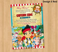 Jake and the Neverland Pirate Invitation - Jake Pirates Invitation - Jake Pirates Party Birthday Printable Invites w/ Photo Ideas Never Land...
