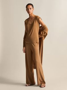 Massimo Dutti - Women - Wide fit trousers - Tobacco brown - S Cotton Shirt Dress, Trousers Women, Things To Buy, Normcore, Jumpsuit, Spring Summer, Fitness, Shirts, Shopping