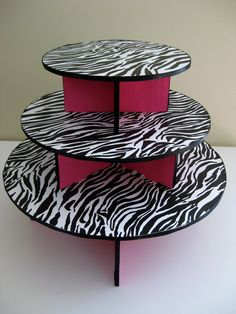 """Zebra and Hot Pink Reusable Cupcake stand could be used to display her """"treasures"""" Pink Zebra Birthday, Pink Zebra Party, Pink Zebra Home, Pink Zebra Sprinkles, Baby Zebra, Zebra Print Party, Zebra Cupcakes, Zebra Decor, Booth Decor"""