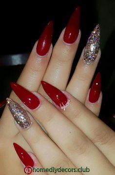 Red Nail Art, Red Acrylic Nails, Acrylic Nail Designs, Nail Art Designs, Acrylic Art, Red Stiletto Nails, Pink Nails, Coffin Nails, Red And Silver Nails
