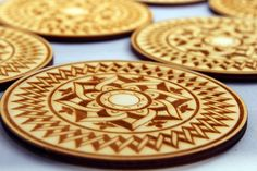 Engraved wooden coasters set  of 6 Arabesque D by InvenioCrafts, €14.00