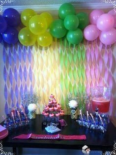 So basically balloons, streamers, plastic table cloths, scissors and some craft time and we should be set on decorations! homemade party decoration Homemade Party Decorations Always Offer Fun And Enjoyment Homemade Party Decorations, Bachelorette Party Decorations, Diy Party, Party Ideas, Decoration Party, Babyshower Party, Deco Ballon, Backdrops For Parties, Party Planning