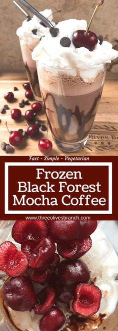 A perfect coffee drink for the summer and warm weather! Ready in just minutes, this frozen coffee can also be made as an iced coffee. Classic Black Forest dessert flavors of cream, cherries, and chocolate are paired with coffee for a fun treat. Simple and easy to make, vegetarian. Frozen Black Forest Mocha Coffee | Three Olives Branch | www.threeolivesbranch.com #BrewAsYouPlease #ad #Coffeedrinks