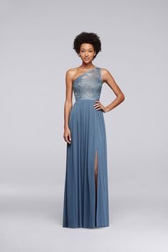 A one-shoulder bridesmaid dress looks sophisticated, especially in Steel Blue Metallic. Style your party at David's Bridal.