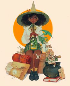 """""""I forgot how to render so I did a study of a Norman Rockwell painting with my character"""" Black Girl Art, Art Girl, Pretty Art, Cute Art, Witch Drawing, Norman Rockwell Paintings, Art Vintage, Witch Art, Magic Art"""