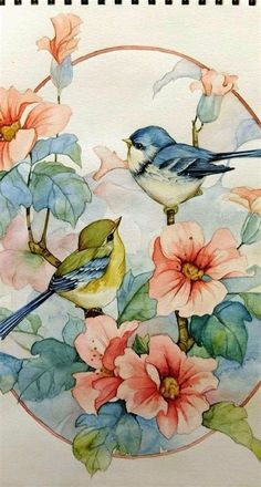 Painting Patterns, Fabric Painting, Watercolor Bird, Watercolor Paintings, Art Corner, Bird Drawings, Bird Pictures, Fractal Art, Bird Art