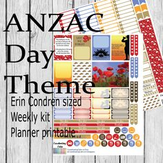 ANZAC Day Theme Weekly Printable Planner Kit - Erin Condren by CoordinatingCalm on Etsy