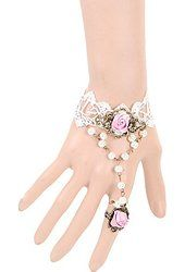 Yazilind Jewelry Lolita White Lace Pink Rose Flower Sexy Faux Pearl Slave…