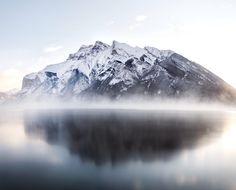 sunrise. lake minnewanka. banff. alberta. by Tanner Wendell Stewart.... #sky #landscape #fog #lake #winter #water #reflection #cold #nature #travel #rock #snow #mountain #ice #glacier #high #outdoors #daylight #banff #scenic #lakeminnewanka