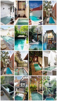 25x droom zwembad voor een stadstuin Backyard Pool Designs, Small Backyard Pools, Small Pools, Pool Water Features, Water Features In The Garden, Water Garden, Jacuzzi, Swimming Pools, Exterior