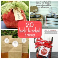 Back to School Ideas! Lunches, teacher gifts, shopping list, decorations, etc.