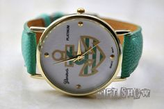 Anchor Watch Golden Watch Mint Green Leather Women by GiftShow, $6.99 Fashion handmade leather bracelet