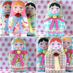 Here's more Matryoshka cuteness for the Russian doll collectors! Yes, I love these dolls in case you haven't already noticed.  Featured first are original collage inspired by the traditional wooden nesting doll using different colorful decorative paper, watercolor, crayon and even ink. They are ready to be framed and are available at Munieca.