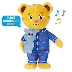 """Daniel Tiger fans will love having their favorite friend with them at bedtime. The adorable Daniel Tiger wears Trolley decorated pajamas, speaks, and even plays the special Daniel Tiger """"Goodnight"""" song!"""