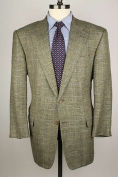 Hickey Freeman Green Grey Textured Silk Linen Blend 42 R mens Sport Coat