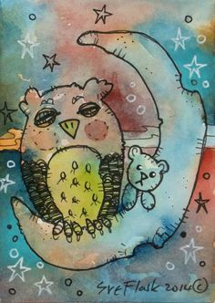 ACEO 2014 New Original Gouache Painting Miniature - Sleeping Owl by Sue Flask #ACEOartcards