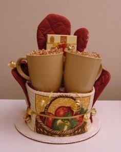 coffee themed kitchen towel cake    Apple Kitchen Towel Cake with Apple Cinnamon Tea
