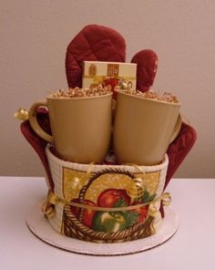 coffee themed kitchen towel cake  | Apple Kitchen Towel Cake with Apple Cinnamon Tea